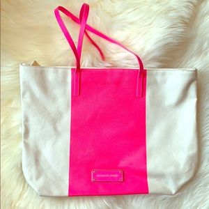 Victoria's Secret Ivory Neon Pink Tote Bag